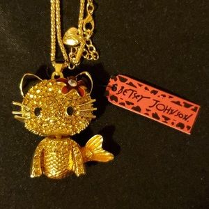 Betsey Johnson Cat-Fish Pendant Necklace 😸